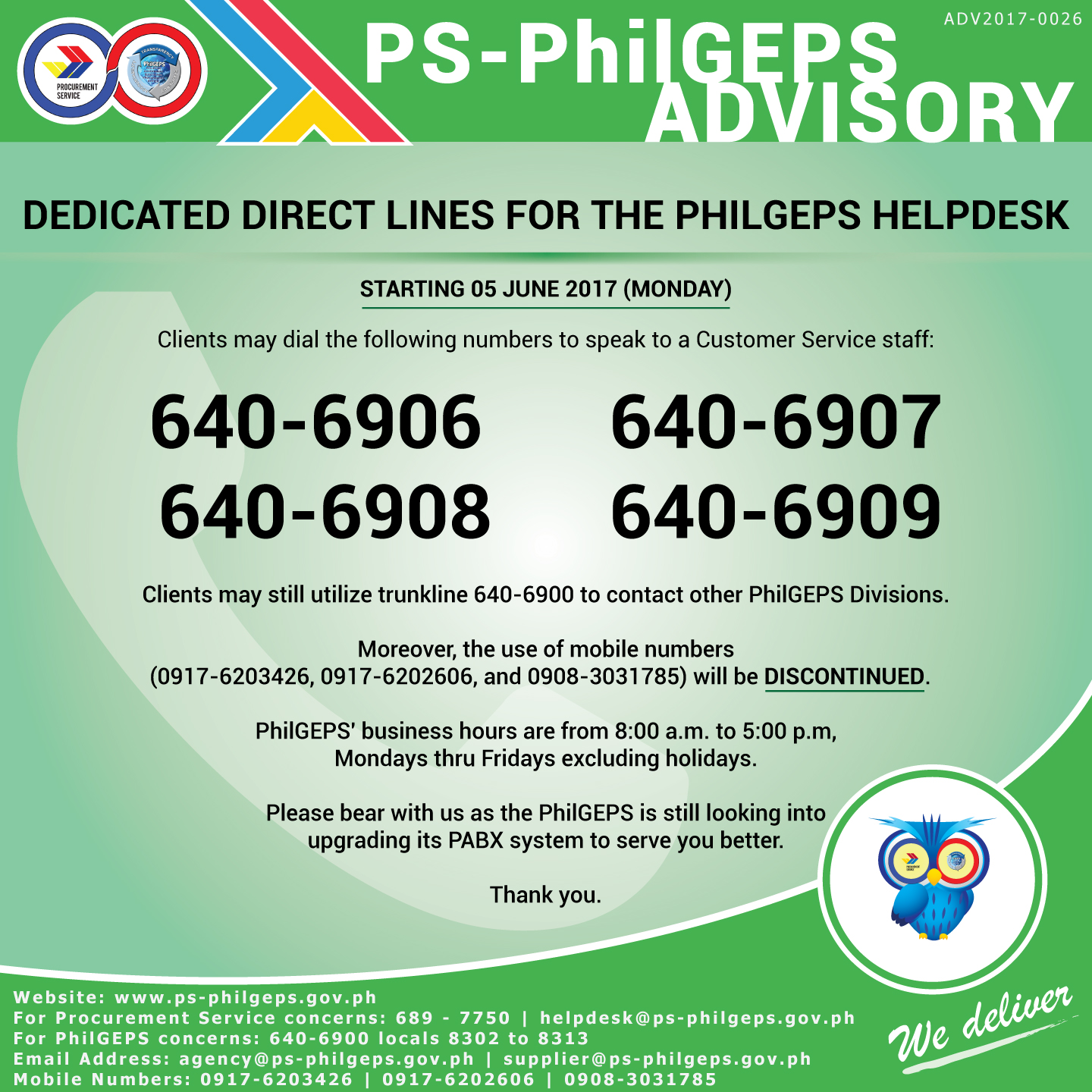 Dedicated Direct Lines For PhilGEPS Helpdesk